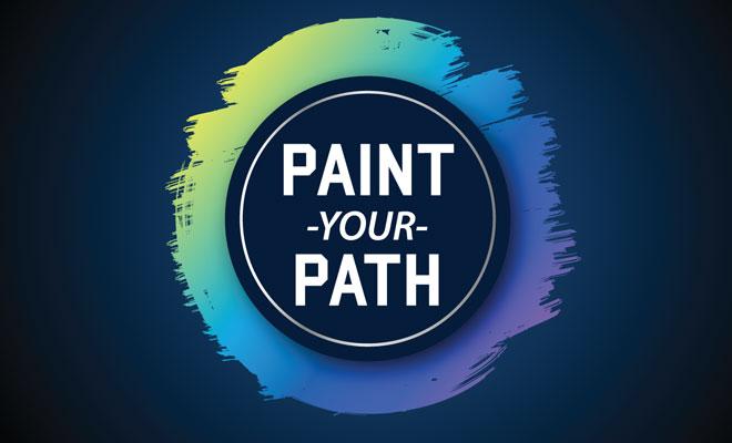Logotipo de Pinta tu camino sobre un fondo gris
