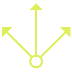 Icon: three arrows point up and out from center